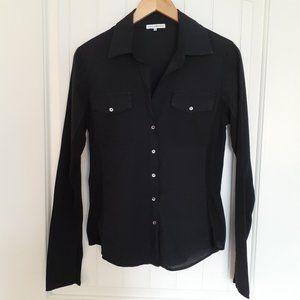 James Perse Sheer Slub Side Panel Shirt Size 3